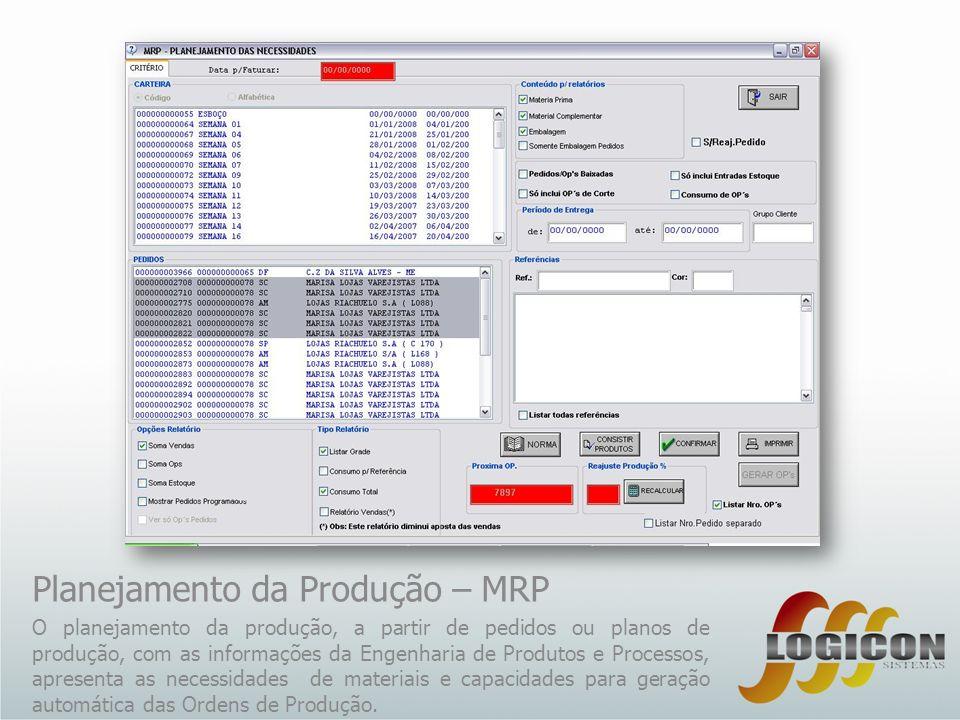 Planejamento da Produção – MRP O planejamento da produção, a partir de pedidos ou planos de produção, com as informações da Engenharia de Produtos e P