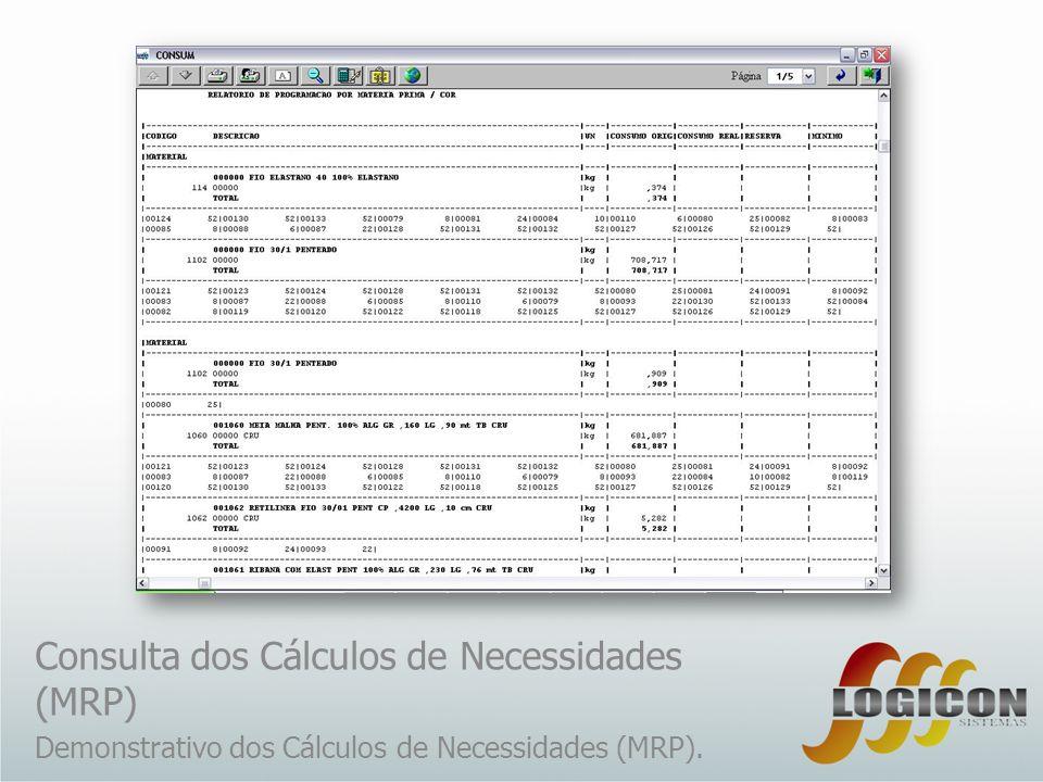 Consulta dos Cálculos de Necessidades (MRP) Demonstrativo dos Cálculos de Necessidades (MRP).