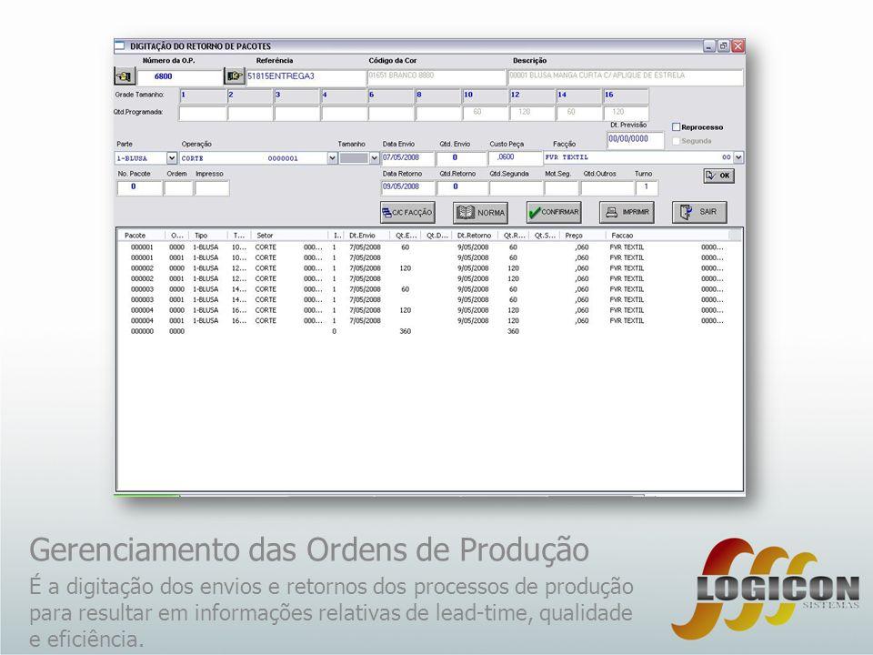 Gerenciamento das Ordens de Produção É a digitação dos envios e retornos dos processos de produção para resultar em informações relativas de lead-time