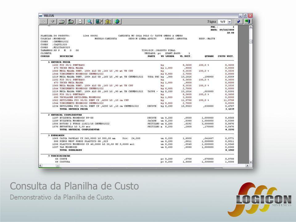 Consulta da Planilha de Custo Demonstrativo da Planilha de Custo.