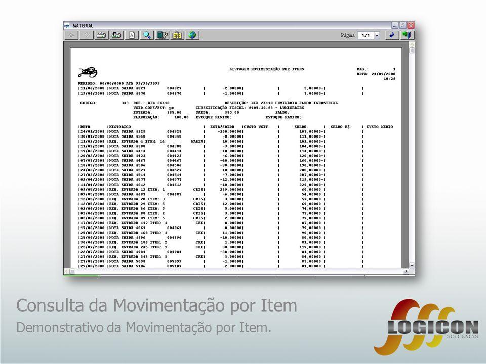 Consulta da Movimentação por Item Demonstrativo da Movimentação por Item.