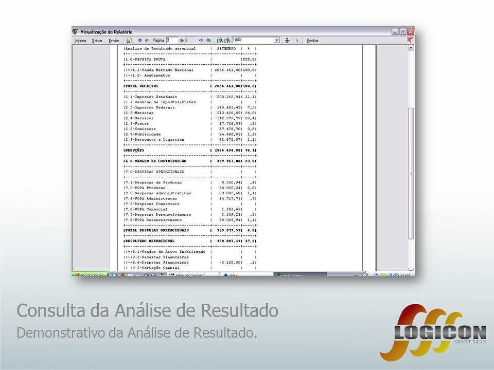 Consulta da Análise de Resultado Demonstrativo da Análise de Resultado.