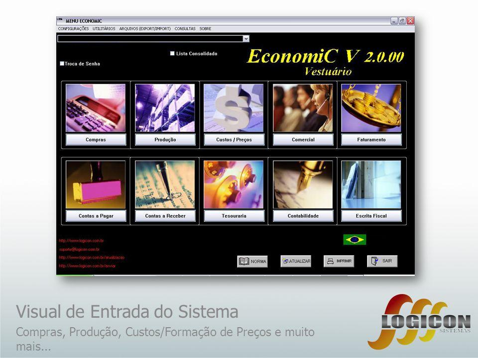 Visual de Entrada do Sistema Compras, Produção, Custos/Formação de Preços e muito mais...
