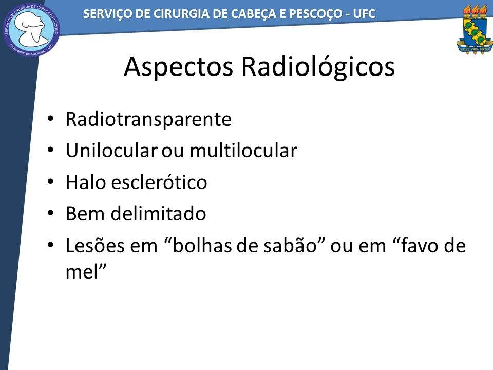 Aspectos Radiológicos Radiotransparente Unilocular ou multilocular Halo esclerótico Bem delimitado Lesões em bolhas de sabão ou em favo de mel
