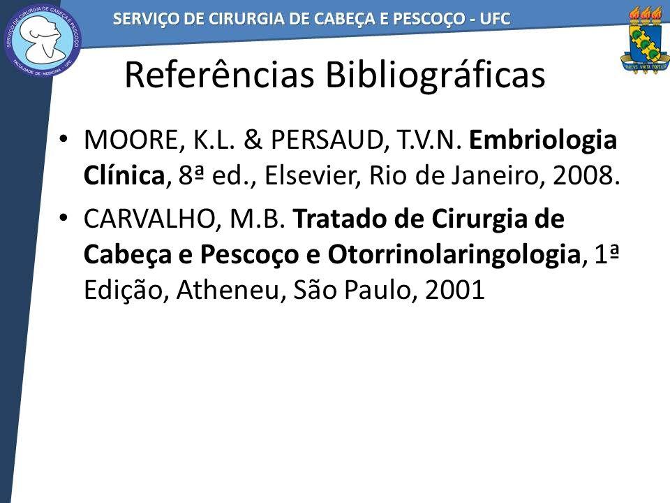 Referências Bibliográficas MOORE, K.L. & PERSAUD, T.V.N. Embriologia Clínica, 8ª ed., Elsevier, Rio de Janeiro, 2008. CARVALHO, M.B. Tratado de Cirurg