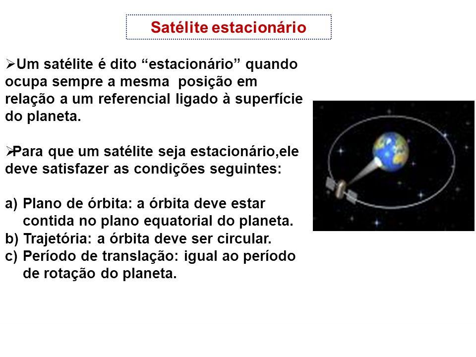 FÍSICA-Tomás Gravitação Universal Satélite estacionário Um satélite é dito estacionário quando ocupa sempre a mesma posição em relação a um referencia