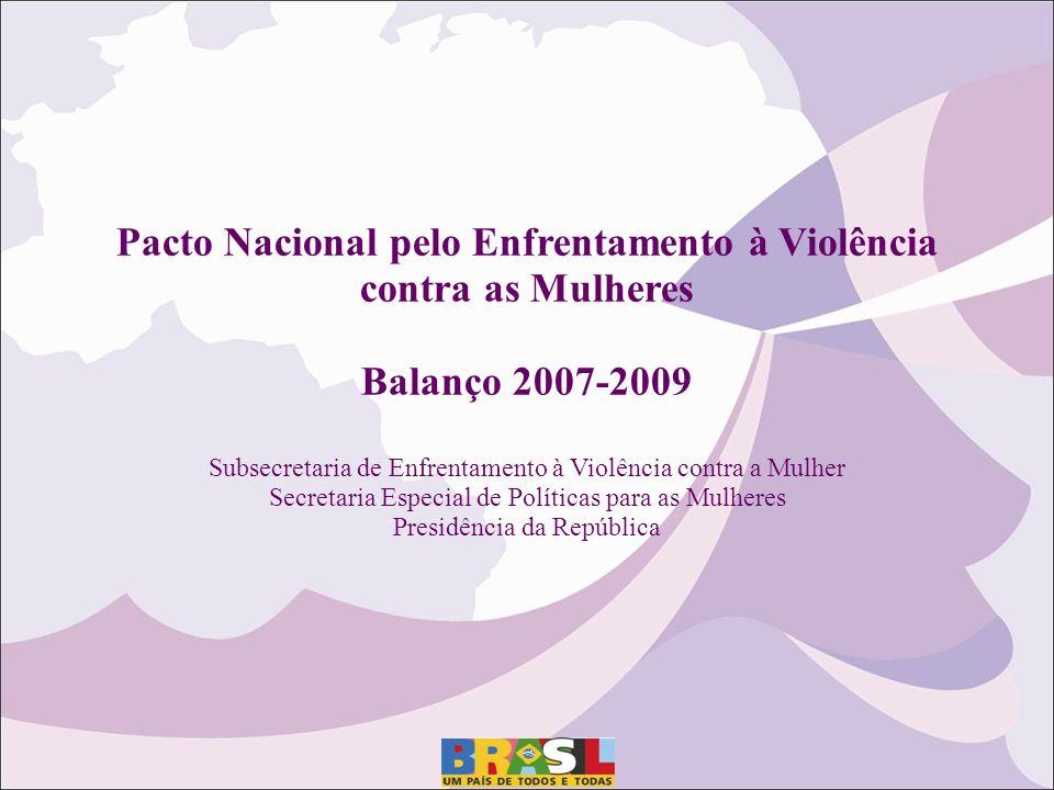 Pacto Nacional pelo Enfrentamento à Violência contra as Mulheres Balanço 2007-2009 Subsecretaria de Enfrentamento à Violência contra a Mulher Secretar