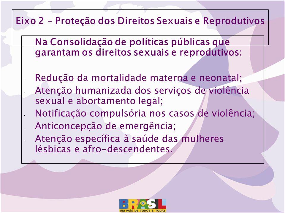 Eixo 2 – Proteção dos Direitos Sexuais e Reprodutivos Na Consolidação de políticas públicas que garantam os direitos sexuais e reprodutivos: - Redução
