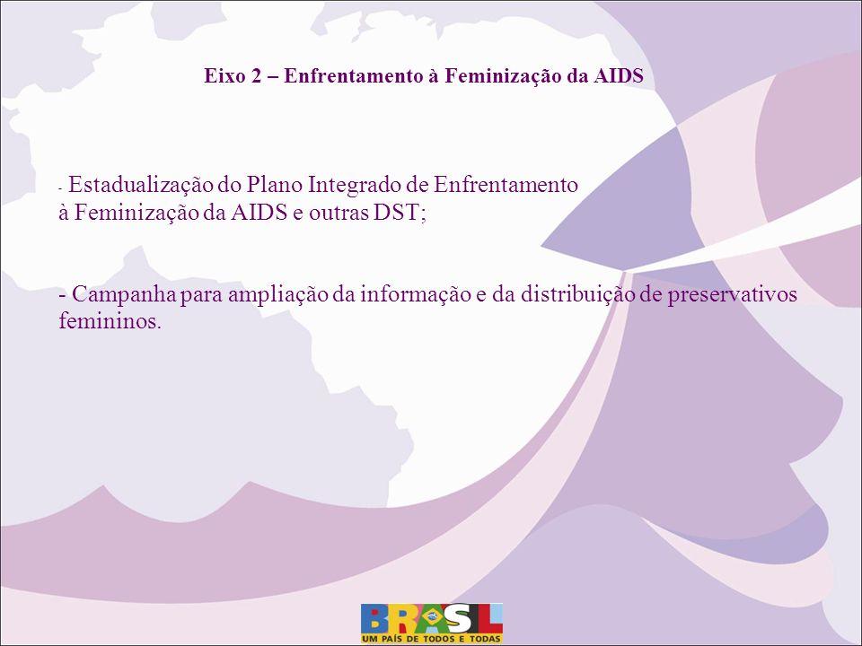 Eixo 2 – Enfrentamento à Feminização da AIDS - Estadualização do Plano Integrado de Enfrentamento à Feminização da AIDS e outras DST; - Campanha para