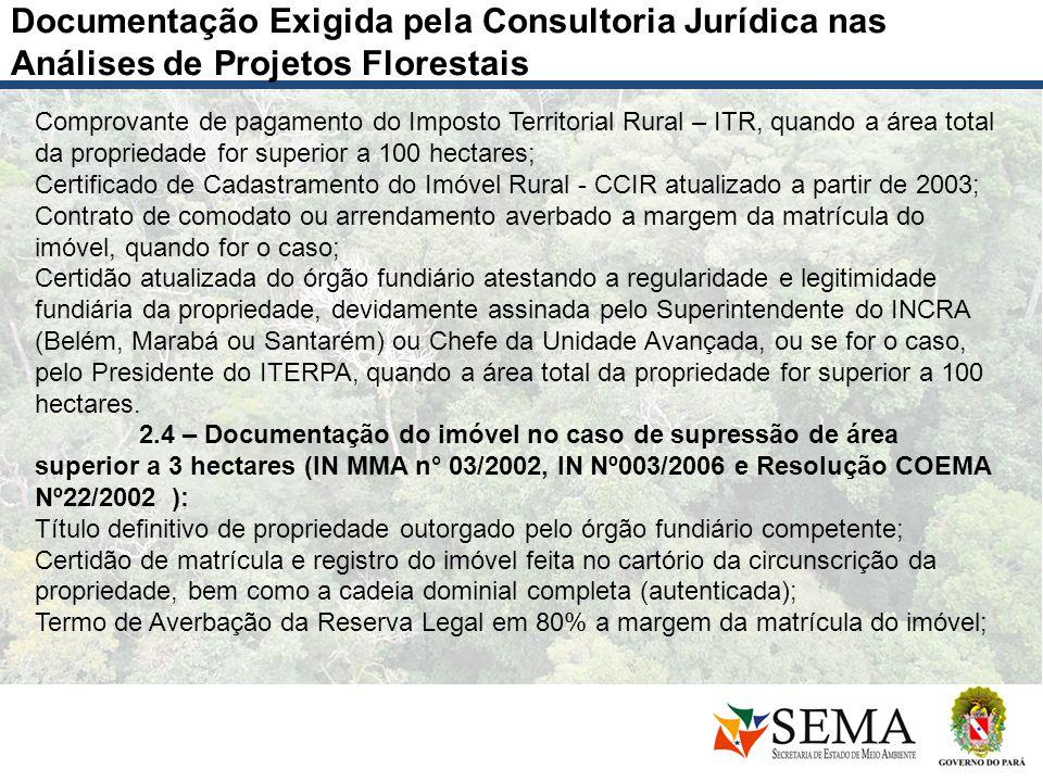 Documentação Exigida pela Consultoria Jurídica nas Análises de Projetos Florestais Comprovante de pagamento do Imposto Territorial Rural – ITR, quando