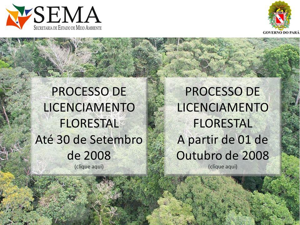 PROCESSO DE LICENCIAMENTO FLORESTAL Até 30 de Setembro de 2008 (clique aqui) PROCESSO DE LICENCIAMENTO FLORESTAL A partir de 01 de Outubro de 2008 (cl