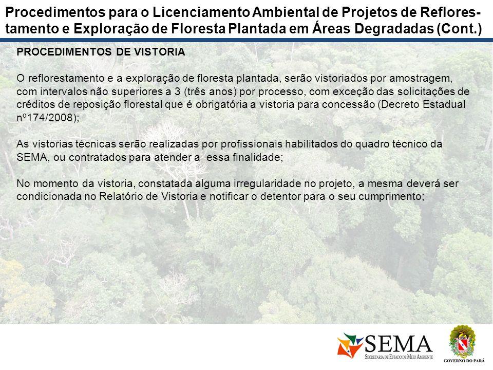 PROCEDIMENTOS DE VISTORIA O reflorestamento e a exploração de floresta plantada, serão vistoriados por amostragem, com intervalos não superiores a 3 (