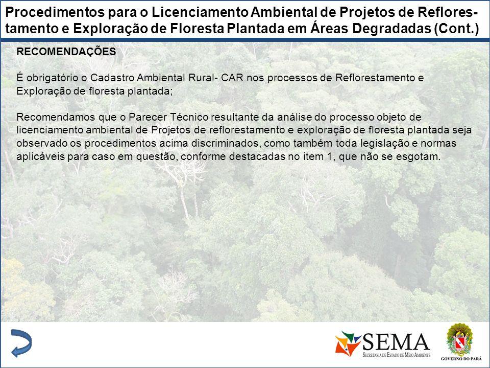 RECOMENDAÇÕES É obrigatório o Cadastro Ambiental Rural- CAR nos processos de Reflorestamento e Exploração de floresta plantada; Recomendamos que o Par