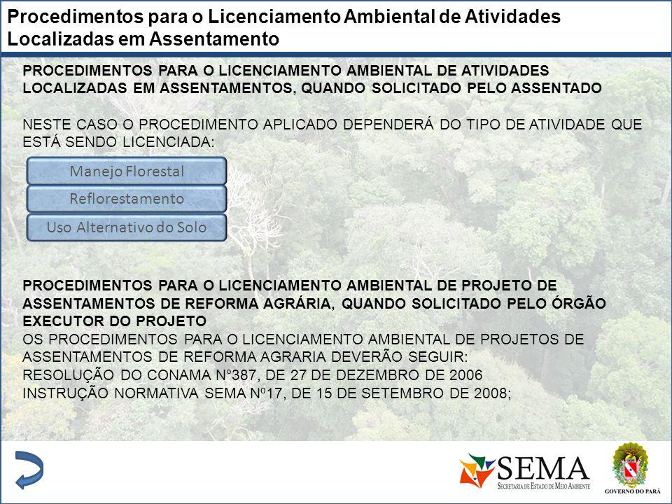 Procedimentos para o Licenciamento Ambiental de Atividades Localizadas em Assentamento PROCEDIMENTOS PARA O LICENCIAMENTO AMBIENTAL DE ATIVIDADES LOCA