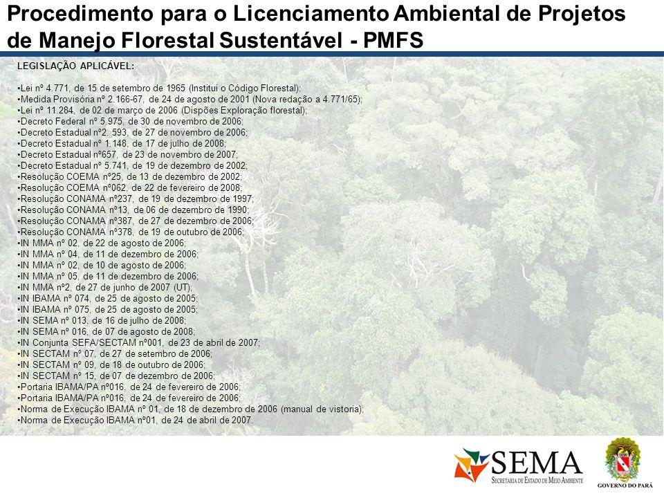Procedimento para o Licenciamento Ambiental de Projetos de Manejo Florestal Sustentável - PMFS LEGISLAÇÃO APLICÁVEL: Lei nº 4.771, de 15 de setembro d