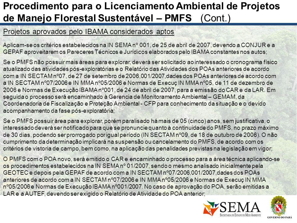 Projetos aprovados pelo IBAMA considerados aptos Aplicam-se os critérios estabelecidos na IN SEMA nº 001, de 25 de abril de 2007, devendo a CONJUR e a
