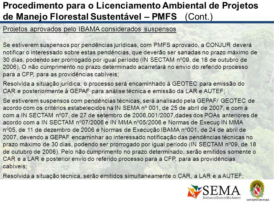 Projetos aprovados pelo IBAMA considerados suspensos Se estiverem suspensos por pendências jurídicas, com PMFS aprovado, a CONJUR deverá notificar o i