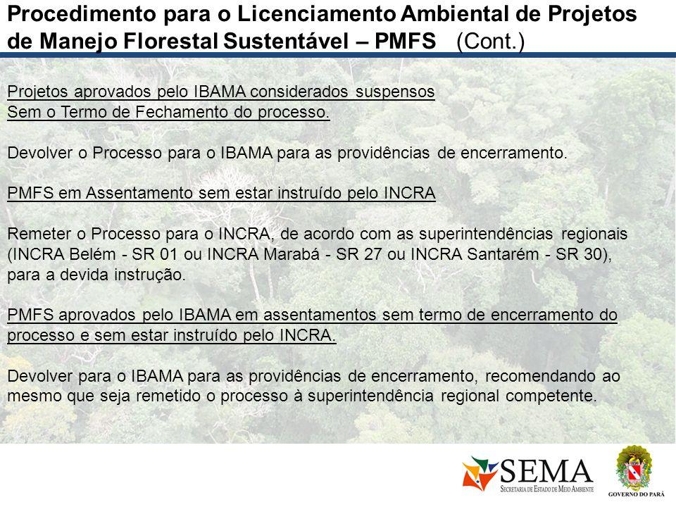 Projetos aprovados pelo IBAMA considerados suspensos Sem o Termo de Fechamento do processo. Devolver o Processo para o IBAMA para as providências de e