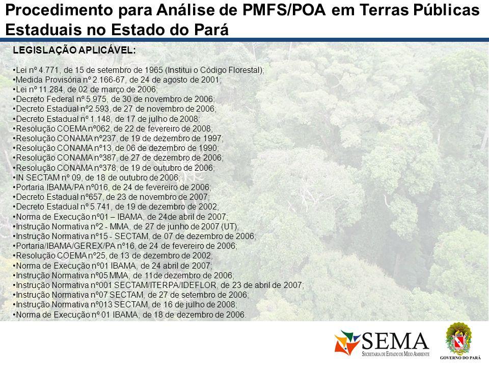 Procedimento para Análise de PMFS/POA em Terras Públicas Estaduais no Estado do Pará LEGISLAÇÃO APLICÁVEL: Lei nº 4.771, de 15 de setembro de 1965 (In