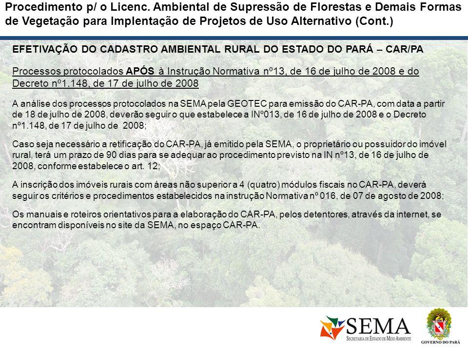 EFETIVAÇÃO DO CADASTRO AMBIENTAL RURAL DO ESTADO DO PARÁ – CAR/PA Processos protocolados APÓS à Instrução Normativa nº13, de 16 de julho de 2008 e do