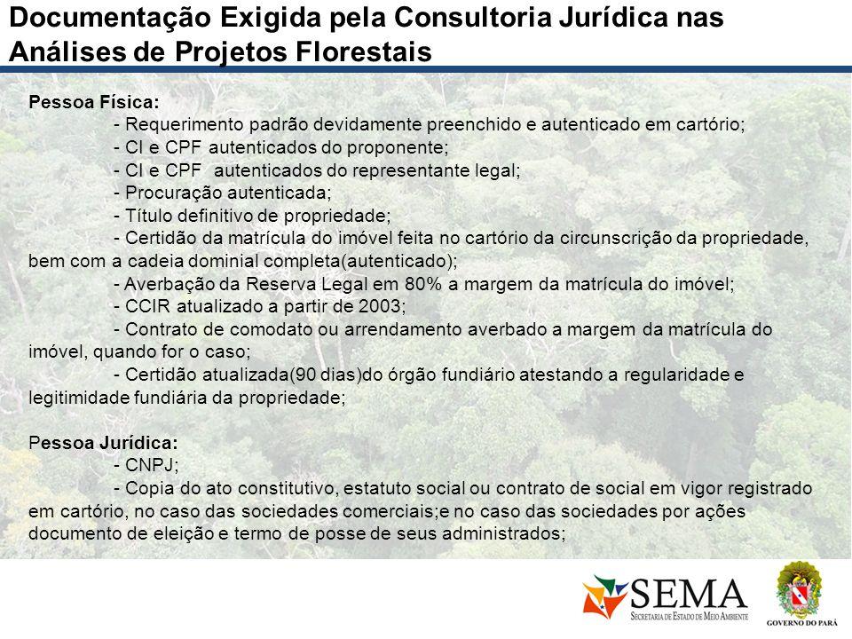 Documentação Exigida pela Consultoria Jurídica nas Análises de Projetos Florestais Pessoa Física: - Requerimento padrão devidamente preenchido e auten