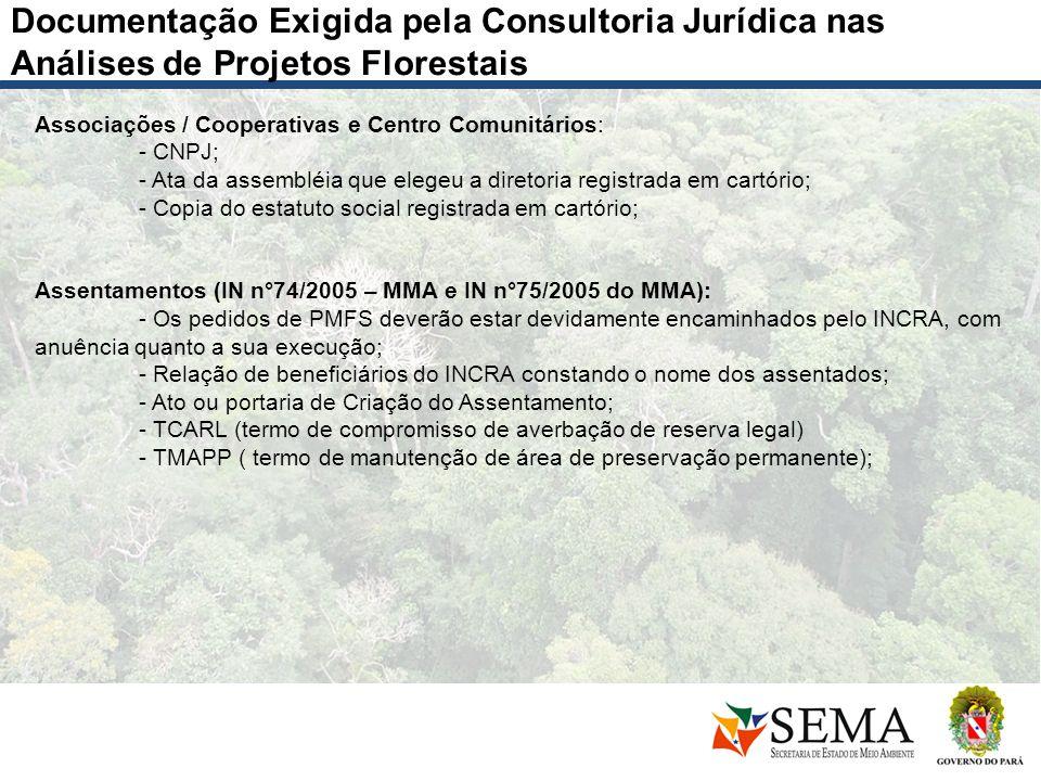 Documentação Exigida pela Consultoria Jurídica nas Análises de Projetos Florestais Associações / Cooperativas e Centro Comunitários: - CNPJ; - Ata da