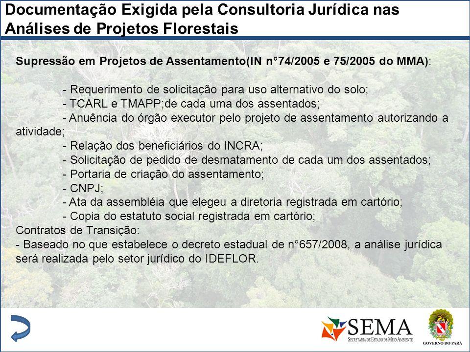 Supressão em Projetos de Assentamento(IN n°74/2005 e 75/2005 do MMA): - Requerimento de solicitação para uso alternativo do solo; - TCARL e TMAPP;de c