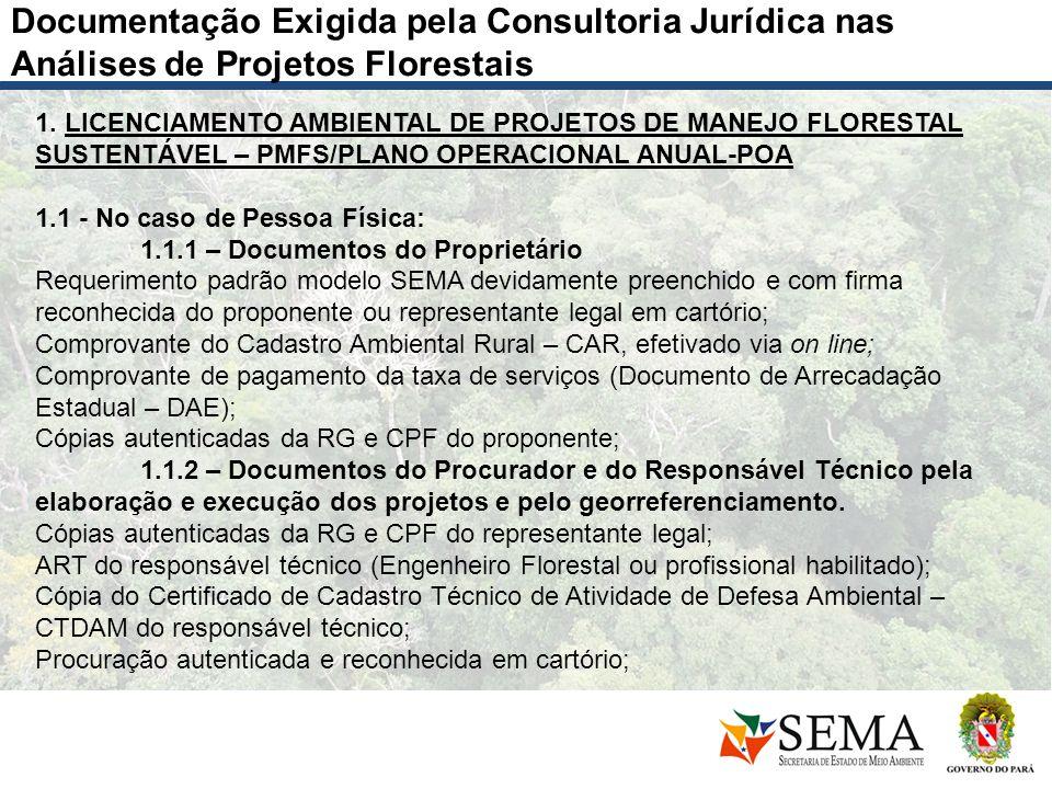 Documentação Exigida pela Consultoria Jurídica nas Análises de Projetos Florestais 1. LICENCIAMENTO AMBIENTAL DE PROJETOS DE MANEJO FLORESTAL SUSTENTÁ