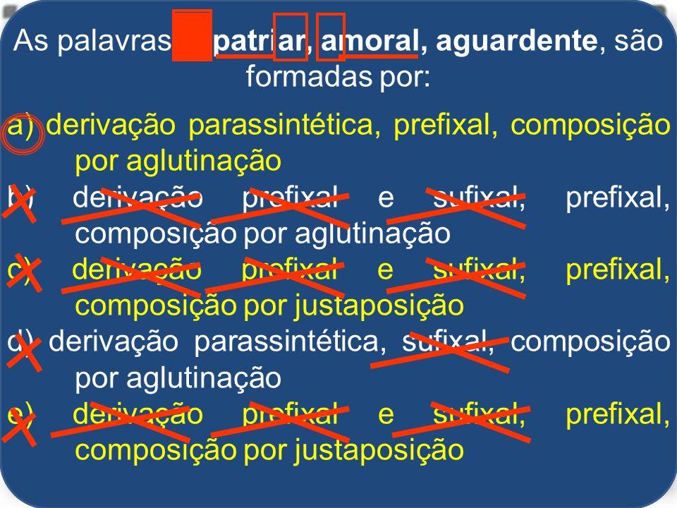 Alexandre Pitta As palavras expatriar, amoral, aguardente, são formadas por: a) derivação parassintética, prefixal, composição por aglutinação b) derivação prefixal e sufixal, prefixal, composição por aglutinação c) derivação prefixal e sufixal, prefixal, composição por justaposição d) derivação parassintética, sufixal, composição por aglutinação e) derivação prefixal e sufixal, prefixal, composição por justaposição