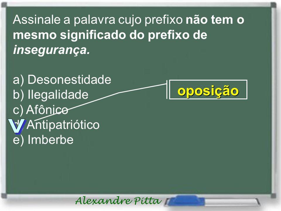 Alexandre Pitta Assinale a palavra cujo prefixo não tem o mesmo significado do prefixo de insegurança.