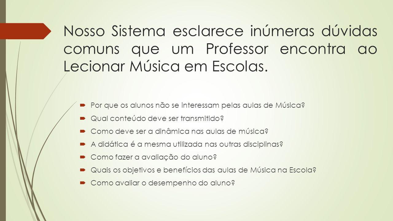 Nosso Sistema esclarece inúmeras dúvidas comuns que um Professor encontra ao Lecionar Música em Escolas. Por que os alunos não se interessam pelas aul
