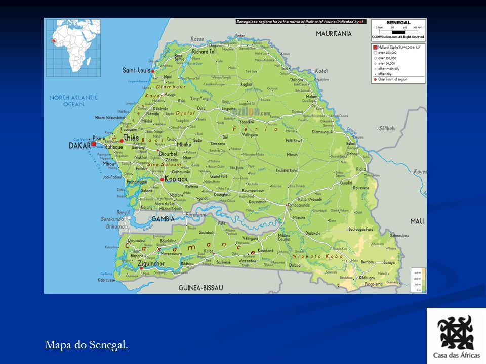 Mapa do Senegal.