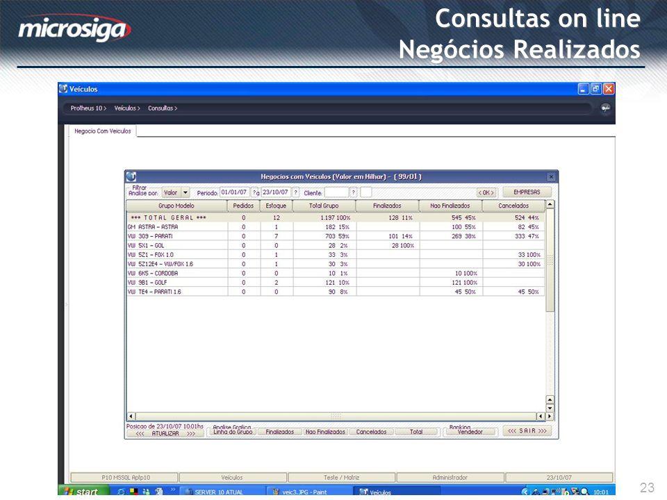 Consultas on line Negócios Realizados 23