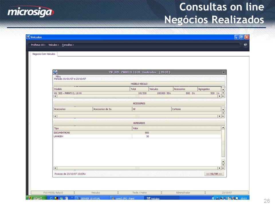 Consultas on line Negócios Realizados 26