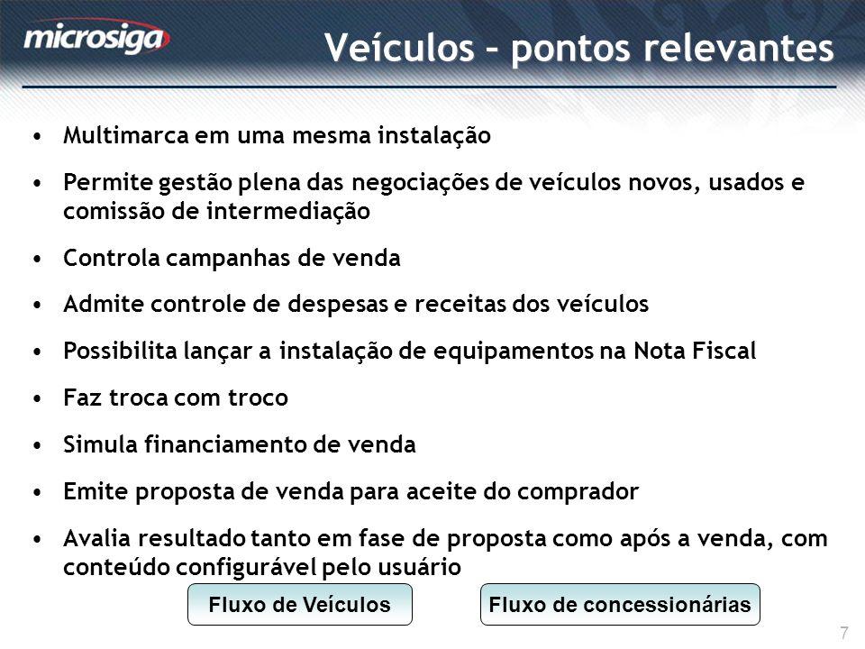 Veículos – pontos relevantes 7 Multimarca em uma mesma instalação Permite gestão plena das negociações de veículos novos, usados e comissão de interme