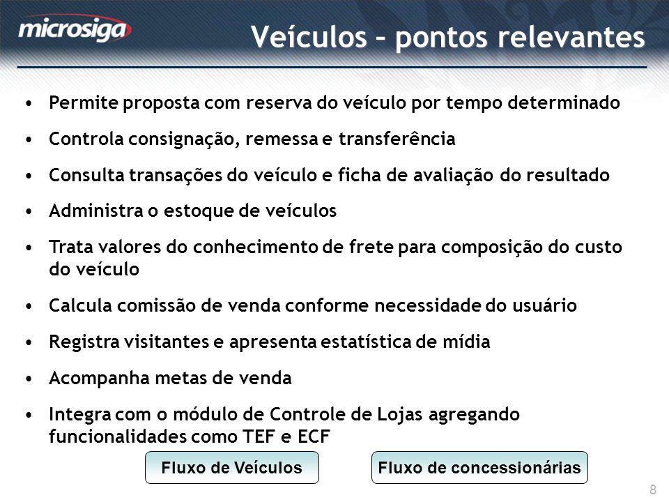 Veículos – pontos relevantes 8 Permite proposta com reserva do veículo por tempo determinado Controla consignação, remessa e transferência Consulta tr