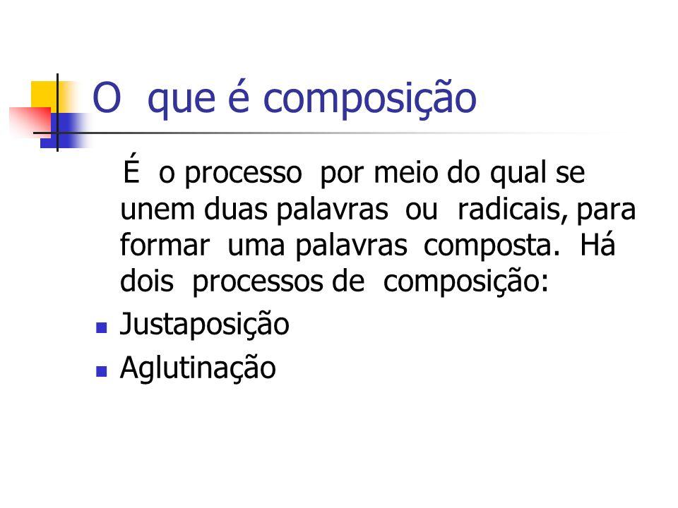 O que é composição É o processo por meio do qual se unem duas palavras ou radicais, para formar uma palavras composta. Há dois processos de composição