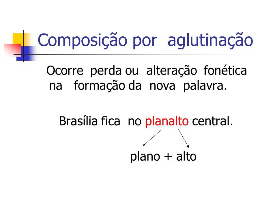 Composição por aglutinação Ocorre perda ou alteração fonética na formação da nova palavra. Brasília fica no planalto central. plano + alto