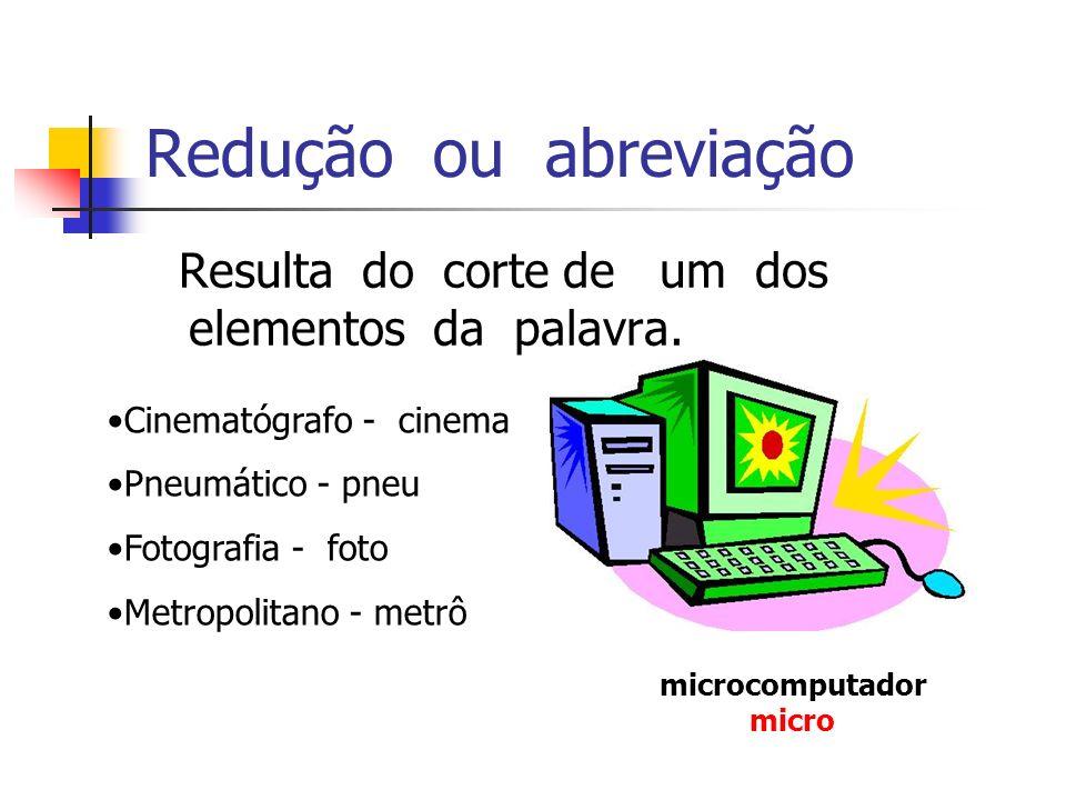 Redução ou abreviação Resulta do corte de um dos elementos da palavra. microcomputador micro Cinematógrafo - cinema Pneumático - pneu Fotografia - fot