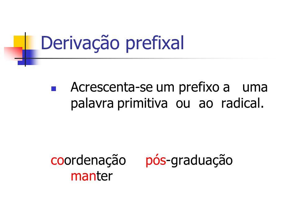 Derivação prefixal Acrescenta-se um prefixo a uma palavra primitiva ou ao radical. coordenação pós-graduação manter