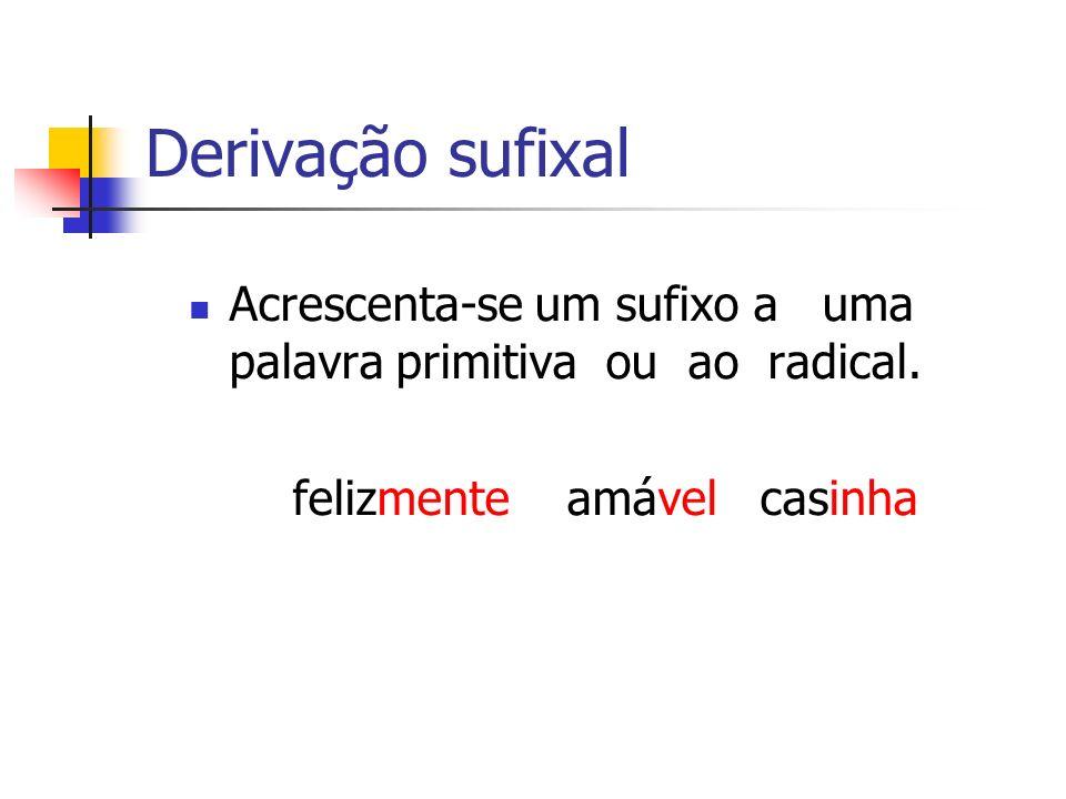 Derivação sufixal Acrescenta-se um sufixo a uma palavra primitiva ou ao radical. felizmente amável casinha