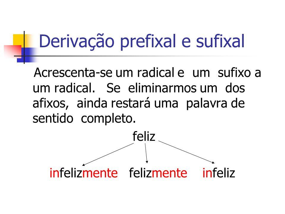 Derivação prefixal e sufixal Acrescenta-se um radical e um sufixo a um radical. Se eliminarmos um dos afixos, ainda restará uma palavra de sentido com