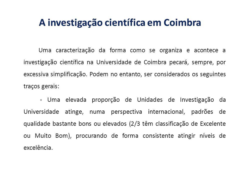 Uma caracterização da forma como se organiza e acontece a investigação científica na Universidade de Coimbra pecará, sempre, por excessiva simplificaç