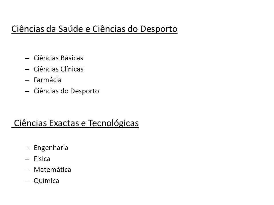Ciências da Saúde e Ciências do Desporto – Ciências Básicas – Ciências Clínicas – Farmácia – Ciências do Desporto Ciências Exactas e Tecnológicas – En