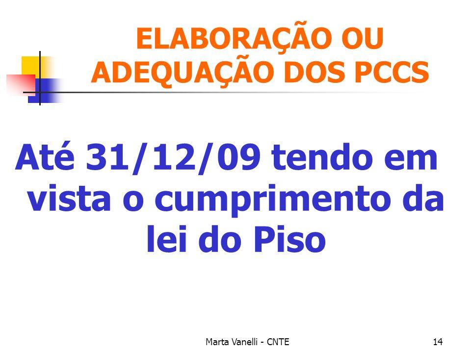 Marta Vanelli - CNTE14 ELABORAÇÃO OU ADEQUAÇÃO DOS PCCS Até 31/12/09 tendo em vista o cumprimento da lei do Piso