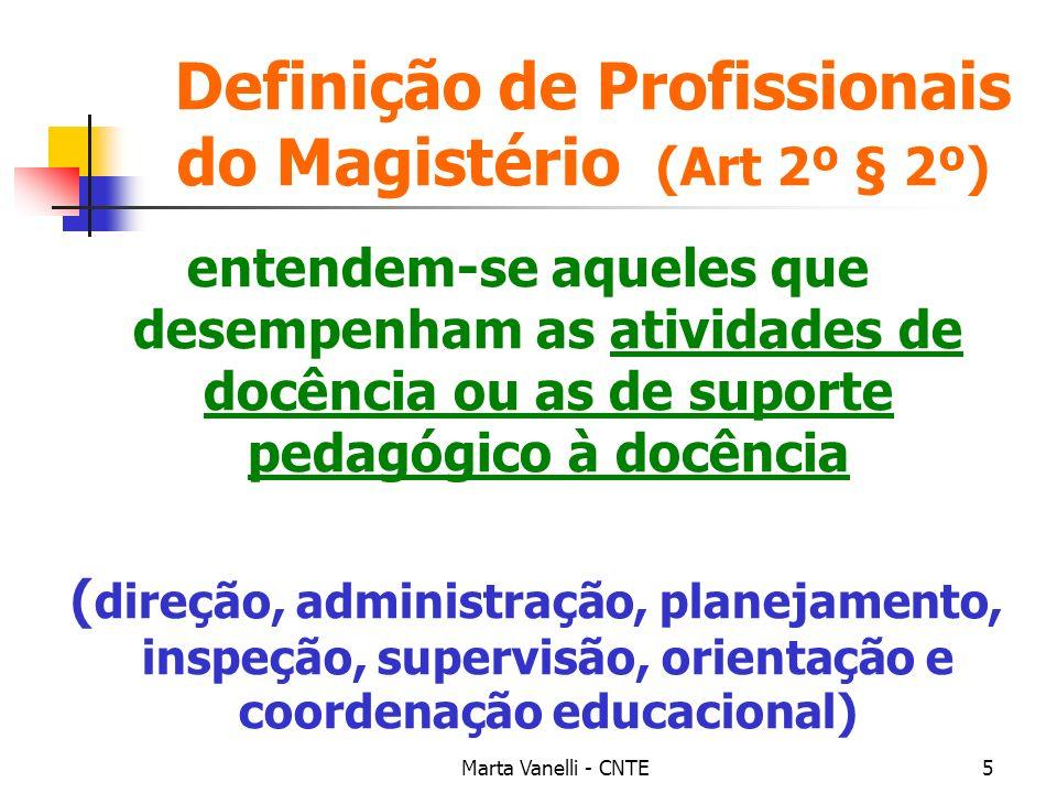 Marta Vanelli - CNTE5 Definição de Profissionais do Magistério (Art 2º § 2º) entendem-se aqueles que desempenham as atividades de docência ou as de su