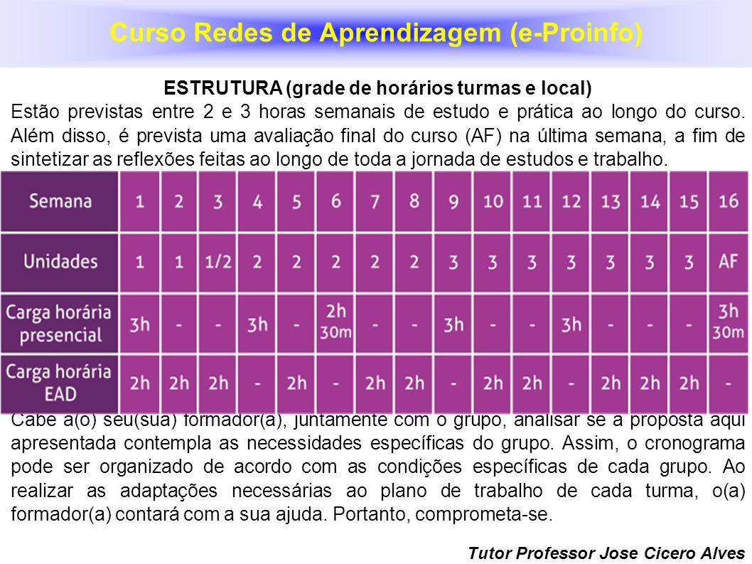 Tutor Professor Jose Cicero Alves ESTRUTURA (grade de horários turmas e local) Estão previstas entre 2 e 3 horas semanais de estudo e prática ao longo