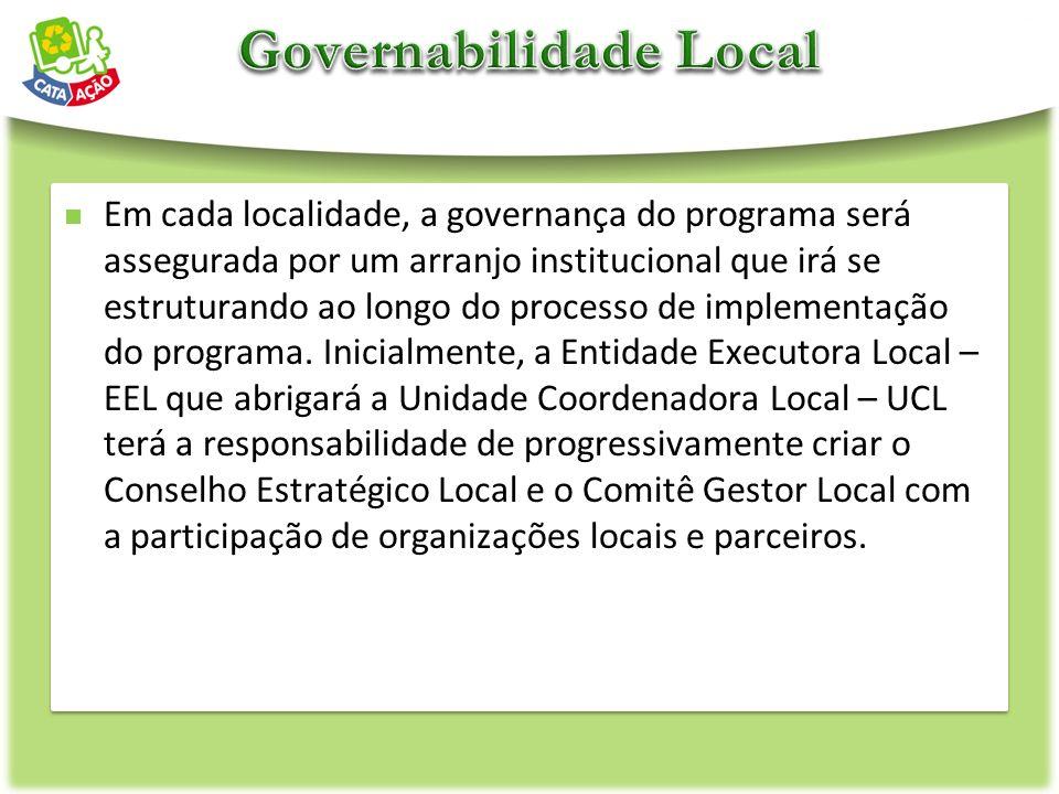 Em cada localidade, a governança do programa será assegurada por um arranjo institucional que irá se estruturando ao longo do processo de implementaçã