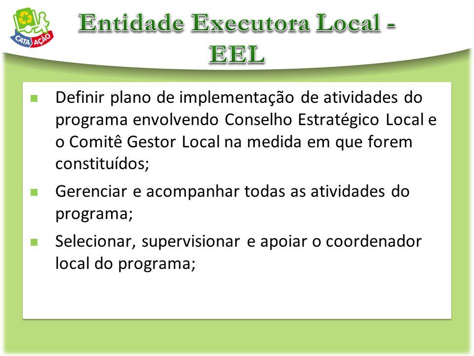 Definir plano de implementação de atividades do programa envolvendo Conselho Estratégico Local e o Comitê Gestor Local na medida em que forem constitu