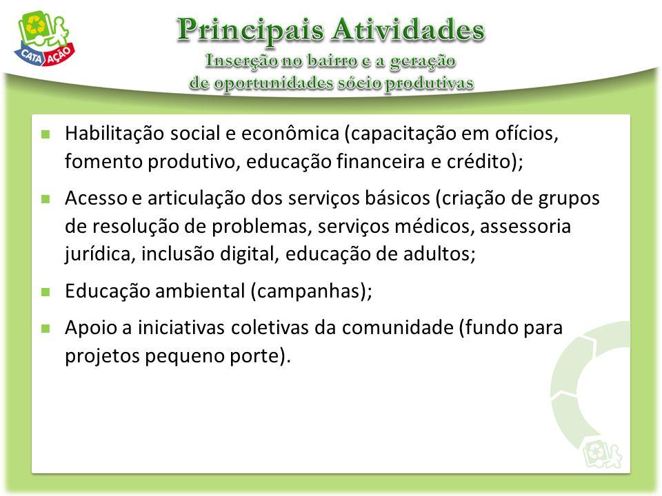 Habilitação social e econômica (capacitação em ofícios, fomento produtivo, educação financeira e crédito); Acesso e articulação dos serviços básicos (